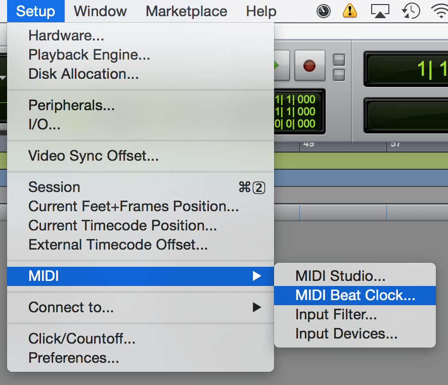 Menu MIDI Beat Clock