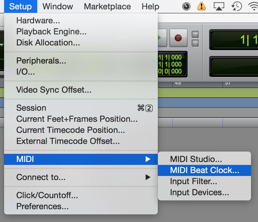 Menu MIDI Beat Clock