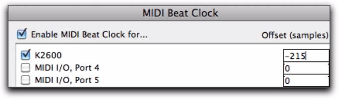 MIDI Beat Clock Dialog
