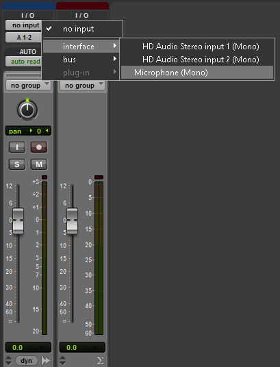 Selecting An Input For An Audio Track