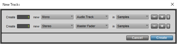 Pro Tools New Track Menu