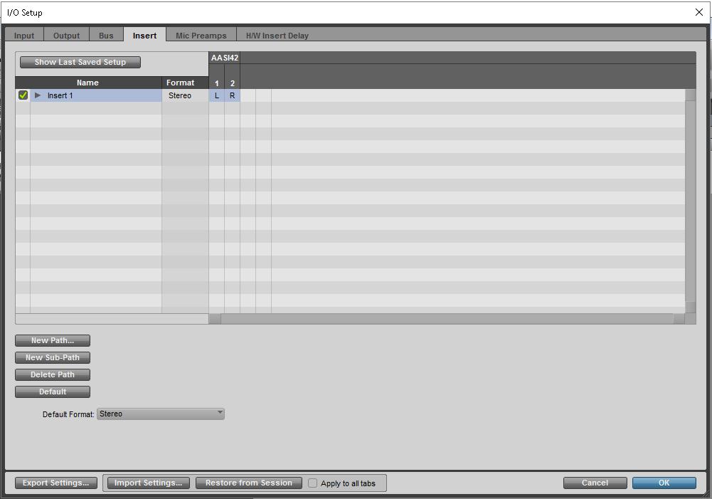 """The """"Insert"""" tab in the"""" I/O Setup"""" window."""