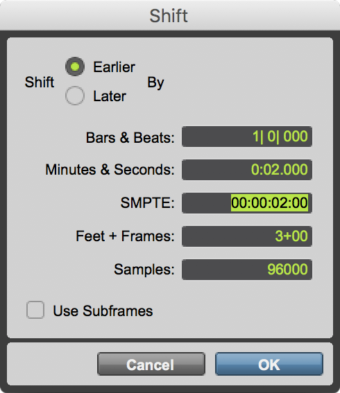 Nudging and Shifting Clips and Selections in Pro Tools   Pro Tools